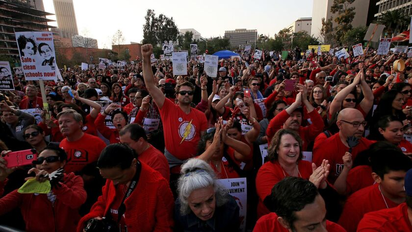 Thousands of teachers belonging to the United Teachers of Los Angeles union rally in downtown's Grand Park on Feb. 26, 2015.