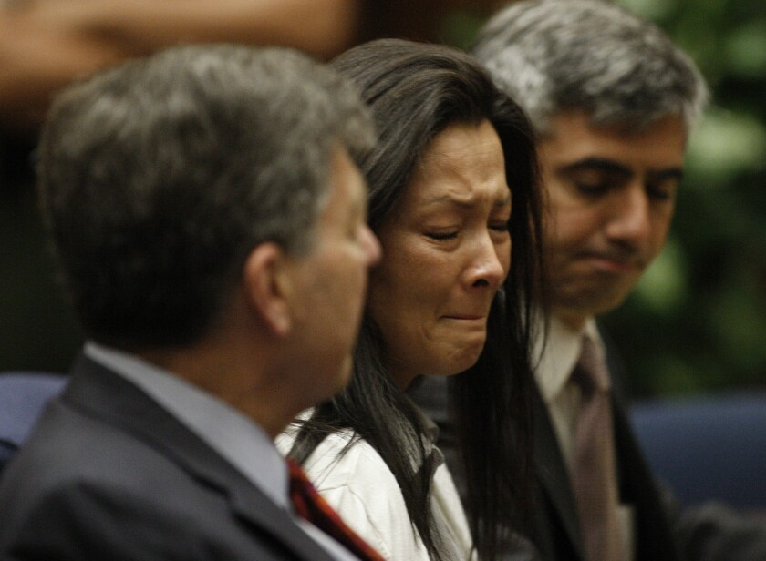 Kelly Soo Park reacts after being found not guilty in the second count at Criminal Courts in downtown Los Angeles.