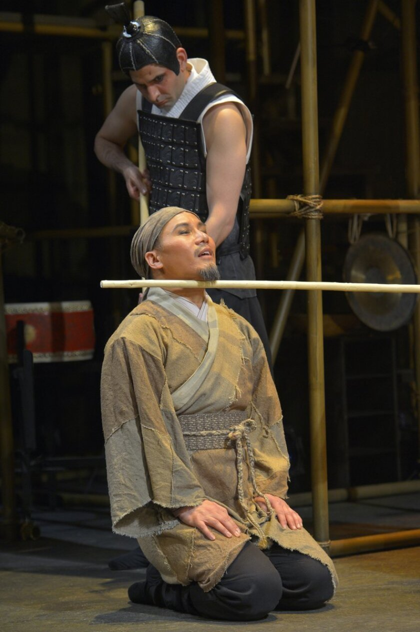 BD Wong (front) and Nick Gabriel star in 'The Orphan of Zhao' running through Aug. 3 in the Playhouse's Mandell Weiss Forum. Kevin Berne. photo