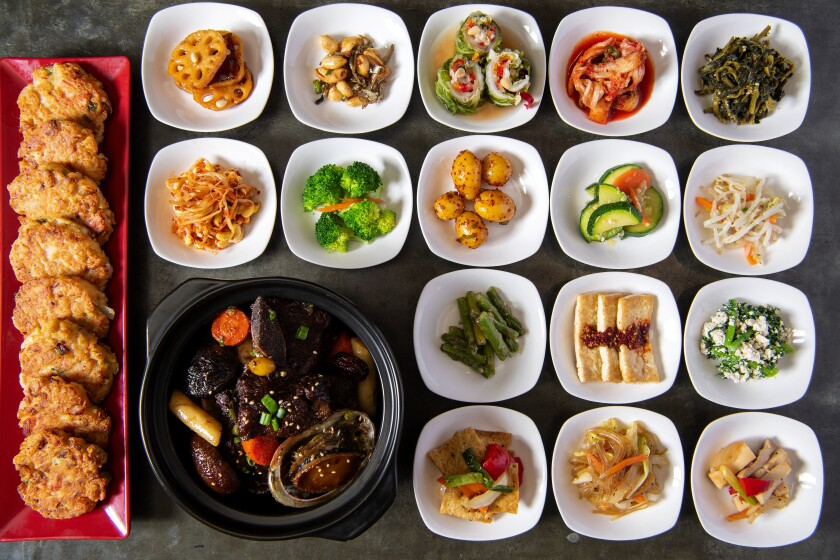 A spread of banchan along with galbi jjim at Soban.