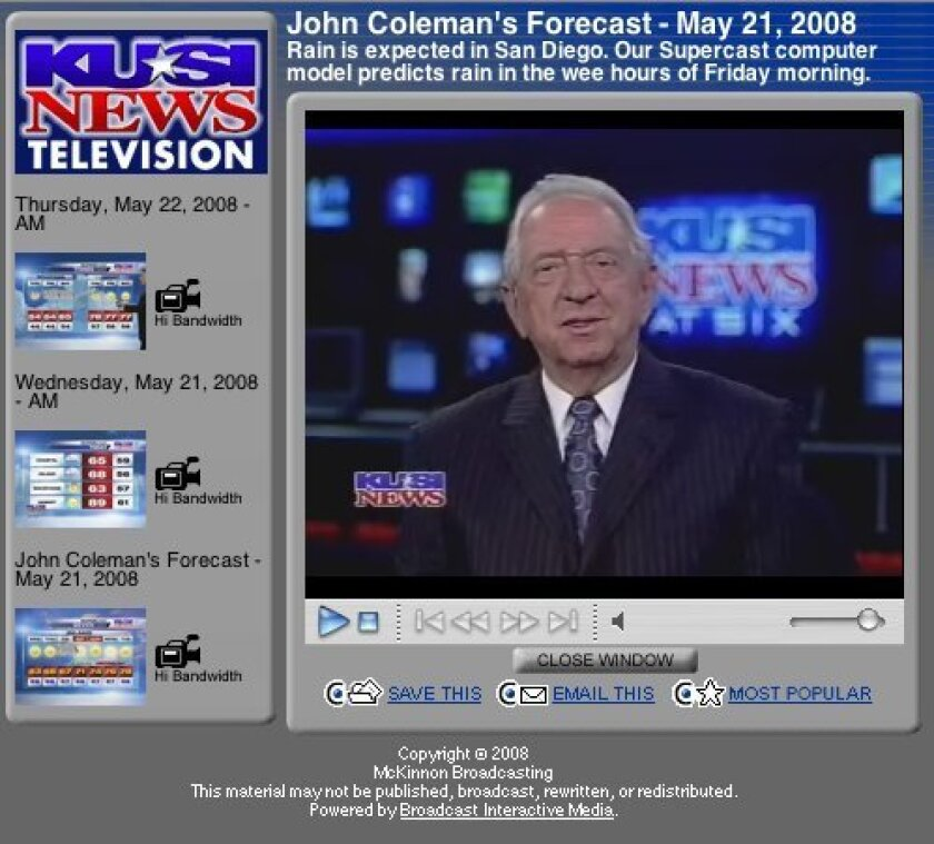 John Coleman, longtime weatherman on KUSI Channel 9/51, has announced his retirement.