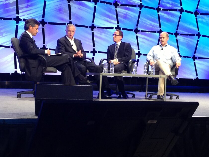 An Urban Land Institute panel on innovation and real estate featured, from left, moderator Stephen P. Navarro, James Waring, Greg Horowitt and Paul Saffo.