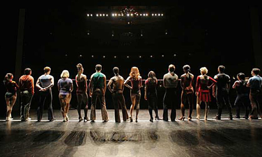 """<b>A Chorus Line:</b> A scene from the Broadway production and the film, """"Every Little Step."""""""