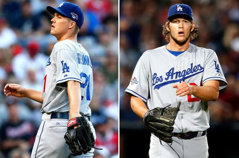 Former Cy Young Award winners Zack Greinke, left, and Clayton Kershaw will start for the Dodgers in Games 1 and 2 of the NLCS against the St. Louis Cardinals on Friday and Saturday.