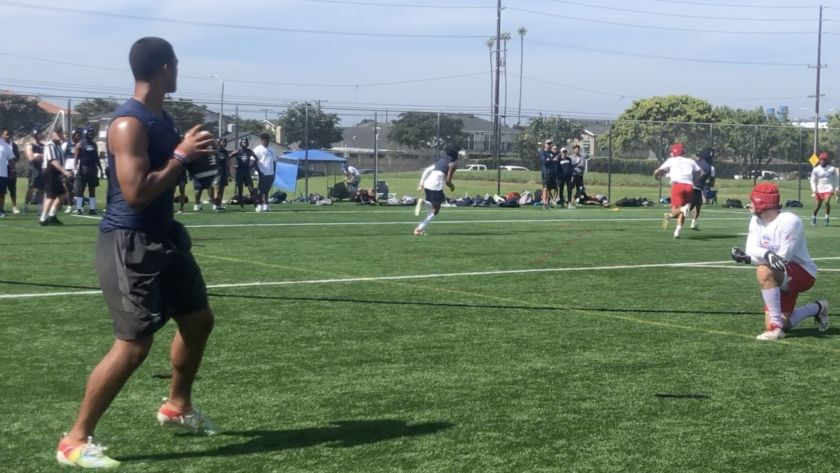 D.J. Uiagalelei of St. John Bosco looks down field during the 2019 Edison passing tournament.