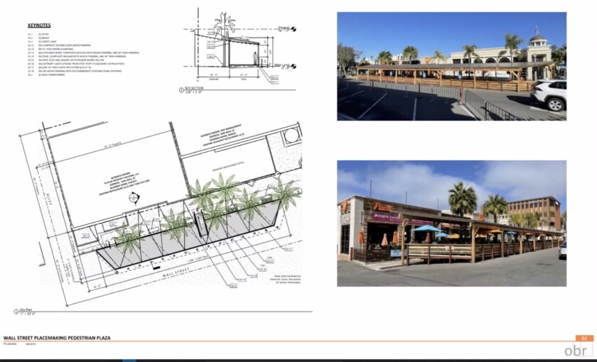 Architect Marie Biaggi showed plans related to Puesto's application for a five-year pedestrian plaza on Wall Street.