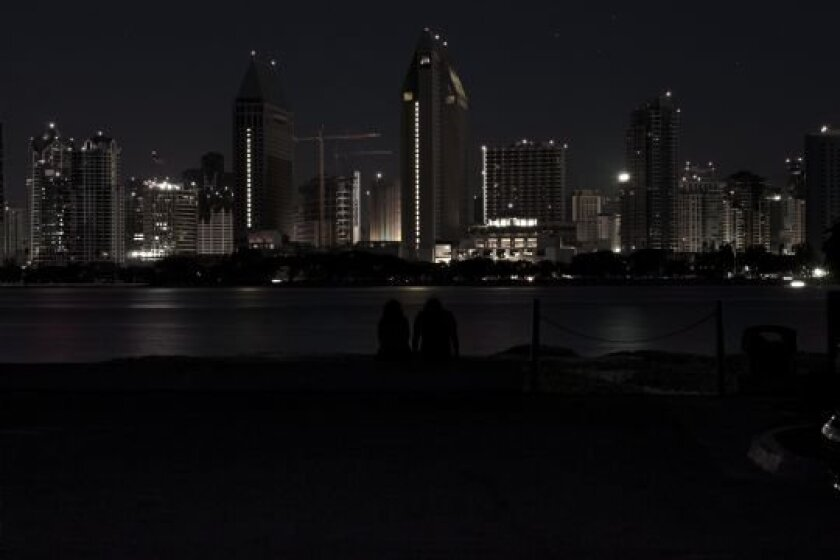 The San Diego skyline during the power outage, about 8 p.m.