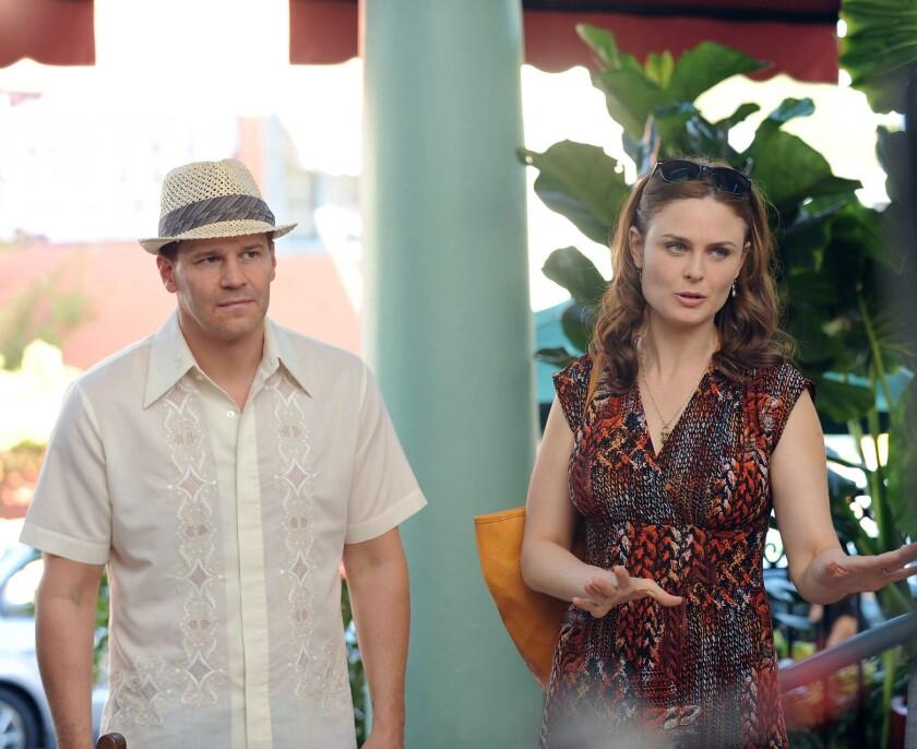 "David Boreanaz and Emily Deschanel in ""Bones,"" returning for its 11th season on Fox."