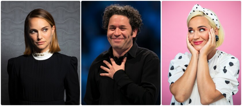 Natalie Portman, left, Gustavo Dudamel and Katy Perry.