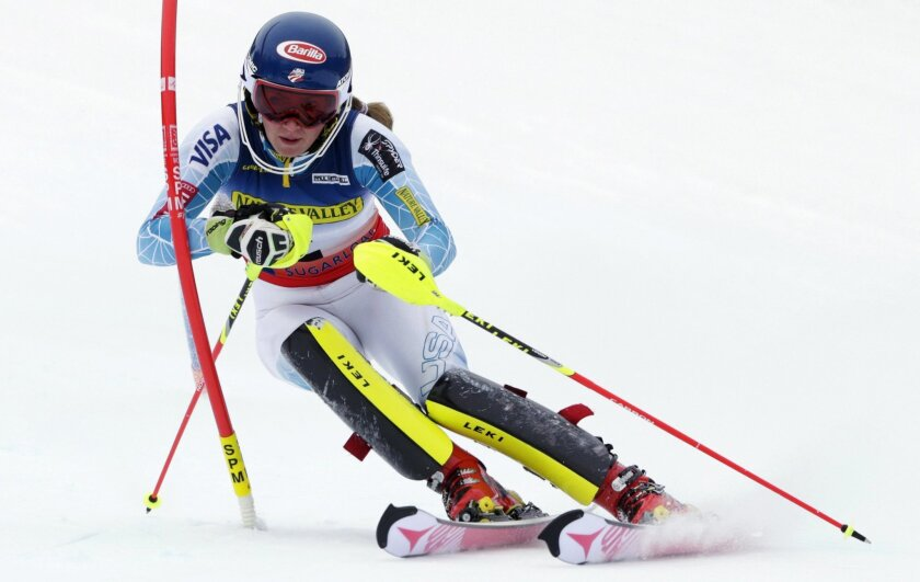 FILE -- In this file photo dated March 28, 2015, Mikaela Shiffrin, of USA, in action during a women's slalom skiing race at the US Alpine Ski Championship in Carrabassett Valley, Maine.  During an interview with The Associated Press Friday Feb. 12, 2016, Olympic and world slalom champion Shiffrin d