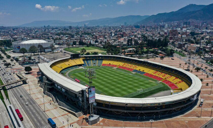 Aerial view of El Campin stadium in Bogota