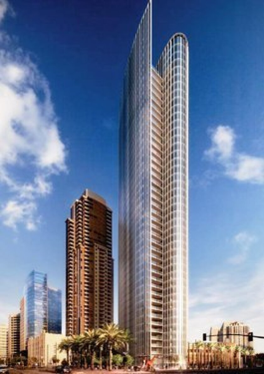 Bosa Development's new high-rise shown in front of its earlier project, Electra, both on Broadway at Pacific Highway.