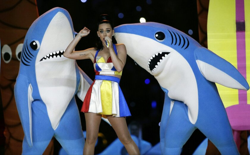 FILE - In this Feb. 1, 2015, file photo, singer Katy Perry performs during halftime of the NFL Super Bowl XLIX football game in Glendale, Ariz. Illinois Rep. Aaron Schock spent taxpayer and campaign funds on private airplanes to fly him around the country on aircraft owned by some of his key donors, The Associated Press has found. The expenses coincide with his other high-figure entertainment and travel charges. Beyond air travel, Schock spent tens of thousands more on tickets for concerts and billed car mileage reimbursements among the highest in Congress. One venue included a sold-out Katy Perry concert in Washington last June with Schock and his interns. (AP Photo/David J. Phillip, File)