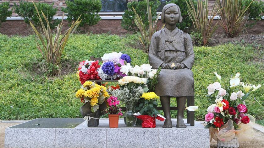"""The """"comfort women"""" statue in Central Park in Glendale"""