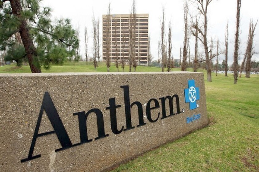 Anthem Blue Cross, a unit of industry giant WellPoint Inc., will be giving rebates to nearly 45,000 small businesses.
