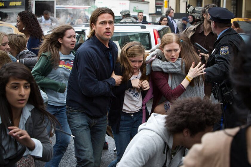 """Brad Pitt stars in """"World War Z,"""" which did not get a theatrical release in China."""