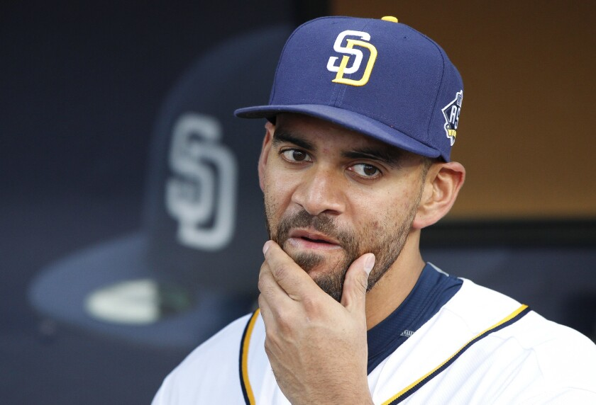 The Padres' pitcher Tyson Ross in the dugout before the Padres' game against the Pirates.