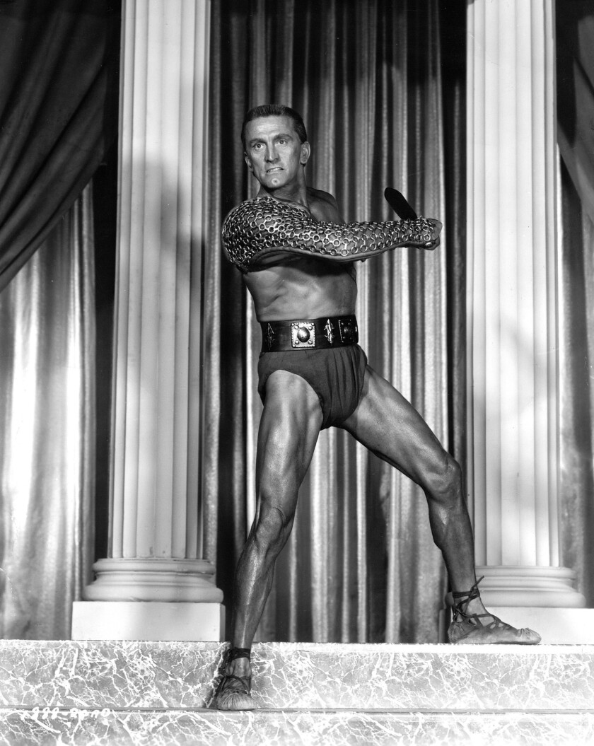 "Kirk Douglas in a publicity still from 1960's ""Spartacus."""