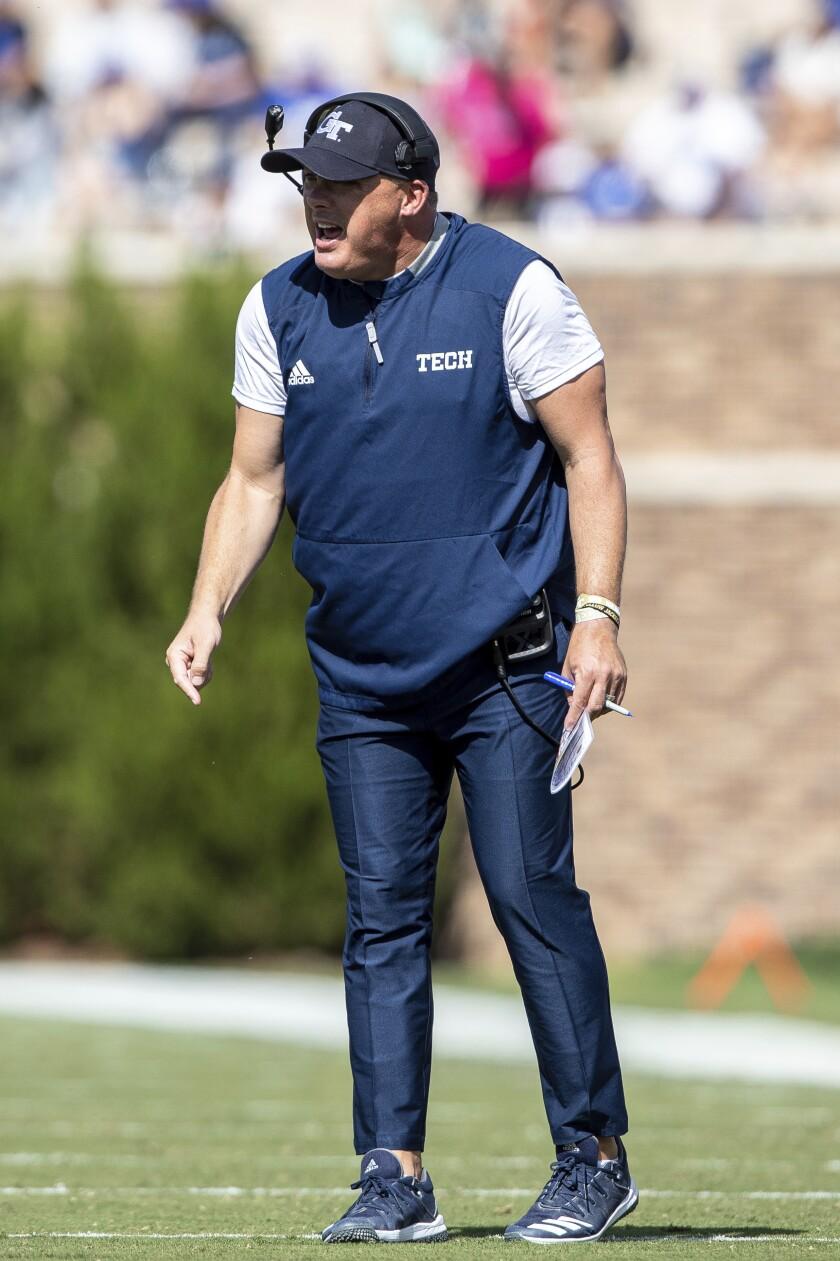 Georgia Tech head coach Geoff Collins shouts towards the field during an NCAA college football game against Duke in Durham, N.C., Saturday, Oct. 12, 2019. (AP Photo/Ben McKeown)