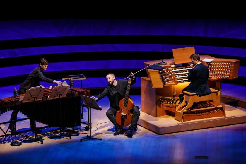 "Chris Thompson on marimba, Liam Byrne on viola da gamba and organist James McVinnie perform Nico Muhly's ""Slow Twitchy Organs"" at Walt Disney Concert Hall."