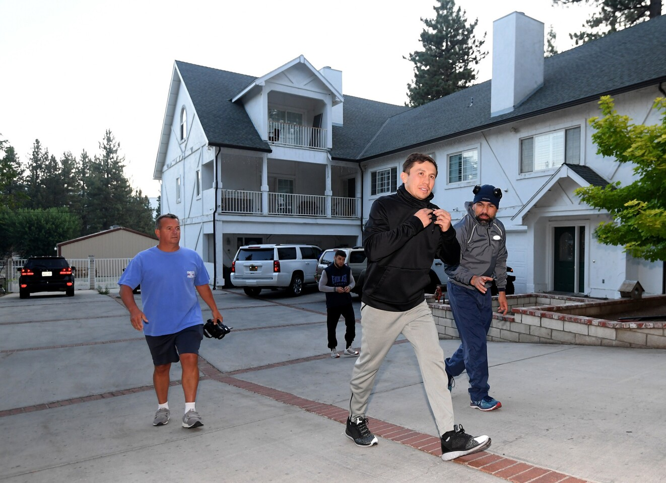 BIG BEAR LAKE, CA - AUGUST 09: Gennady Golovkin prepares for a morning run at The Summitt on August 9, 2018 in Big Bear Lake, California. (Photo by Harry How/Getty Images) ** OUTS - ELSENT, FPG, CM - OUTS * NM, PH, VA if sourced by CT, LA or MoD **