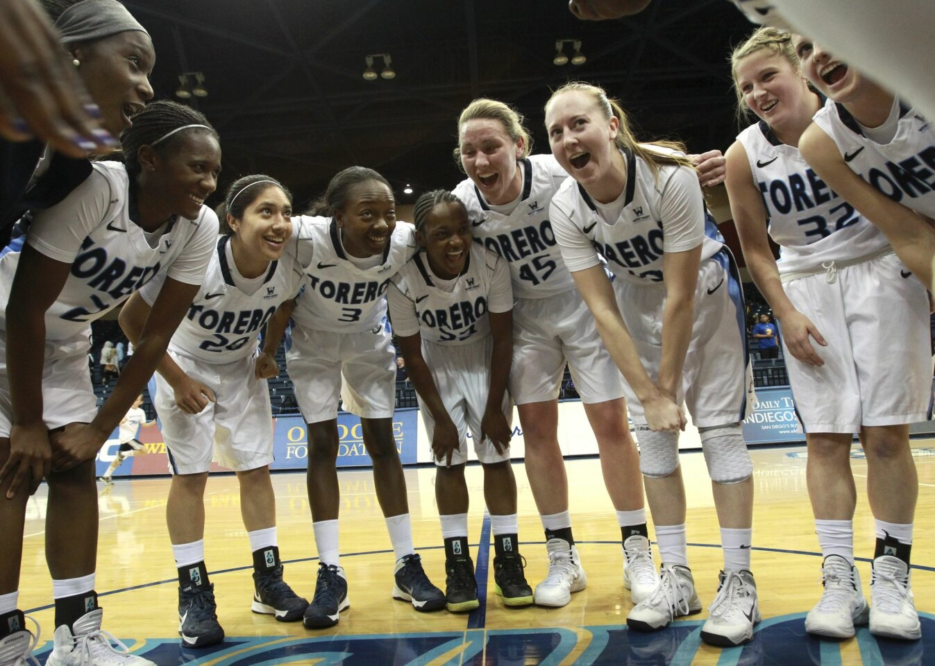 USD players celebrate after defeating Pepperdine 71-43 at the Jenny Craig Pavilion in San Diego on December 28, 2013. The Toreros remain undefeated at 12-0.