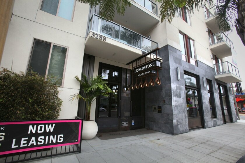 From 2007 to 2014, homeowner costs have dropped 17.8 percent while renters' costs have gone up by 3 percent, Apartment List said. Pictured: Broadstone Balboa Park in Bankers Hill.