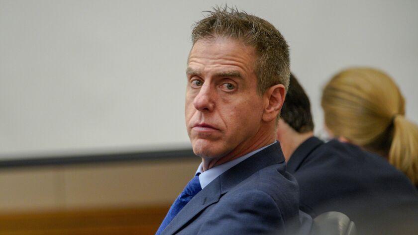 Adam Shacknai sits in court in Coronado in a civil trial over the death of Rebecca Zahau.