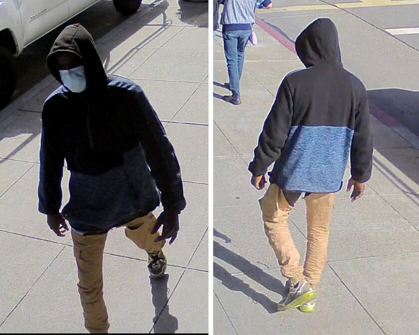 Surveillance photo show a suspect in a series in three assaults in Oakland.