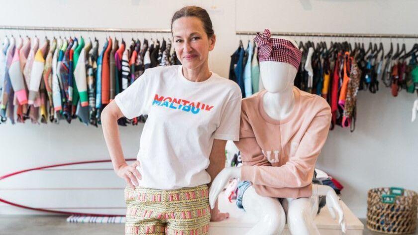 Designer Cynthia Rowley at her Malibu pop-up.