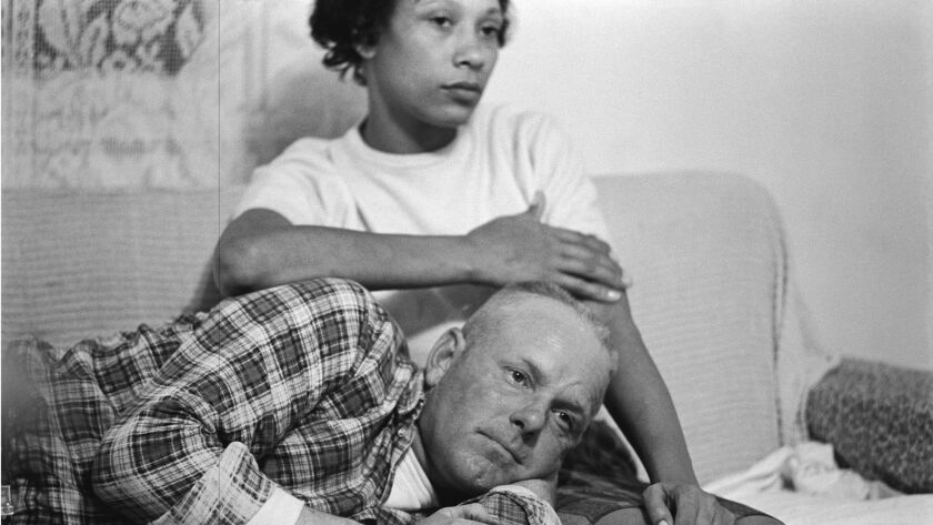 Detail of a Grey Villet photo from 1965 of Richard and Mildred Loving on their couch in Virginia.