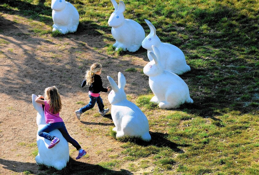 Priscilla Janz, 6, and her sister Dagny, 3, play among the bunnies.