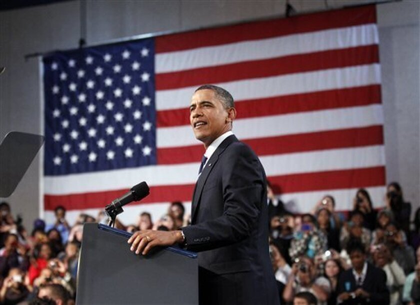 President Barack Obama delivers remarks on the economy, Wednesday, Sept. 8, 2010, at the Cuyahoga Community College West Campus in Parma, Ohio. (AP Photo/Pablo Martinez Monsivais)