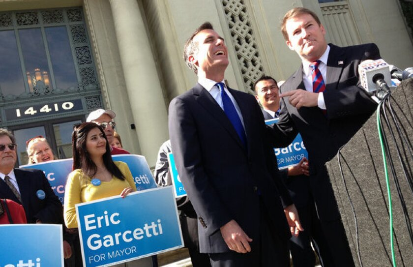 Kevin James endorses Los Angeles mayoral candidate Eric Garcetti in front of Van Nuys City Hall. The city councilman now has the backing of every major candidate who finished behind him and City Controller Wendy Greuel in the Los Angeles mayoral primary.