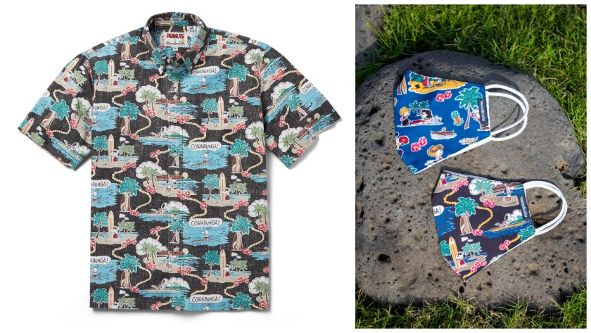 A Hawaiian shirt with a Peanuts cartoon pattern next to two similarly patterned face masks.