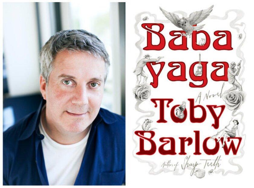"Author Toby Barlow and the cover of his novel, ""Babayaga."""