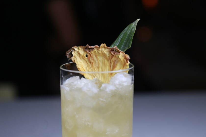 The Corvair Monzaa from Fort Oak, consists of reposado tequila, tepache, lime, and spiced maple.