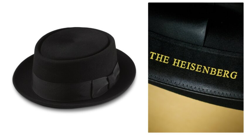 """For the holidays, Goorin Bros. is reissuing """"The Heisenberg"""" hat, the identical model of black porkpie hat worn by Walter White on """"Breaking Bad,"""" with the addition of the words """"The Heisenberg"""" (White's alter-ego on the show) on the sweatband inside."""