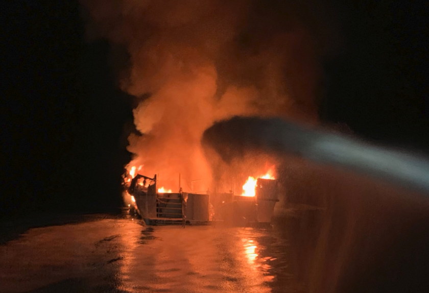 Boat fire off Ventura County