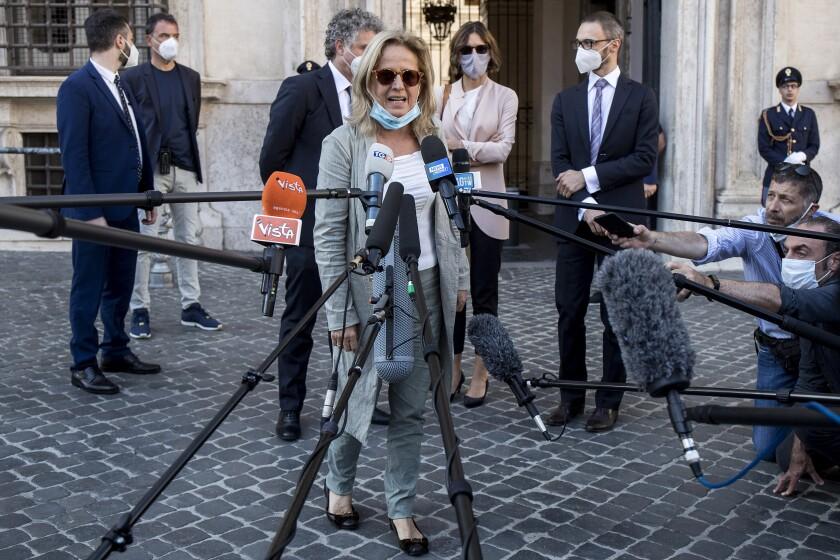 Maria Cristina Rota, lead prosecutor in the probe regarding a lack of coronavirus protections, talks to reporters in Rome.