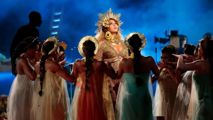 Beyoncé performs during Sunday's Grammy Awards.