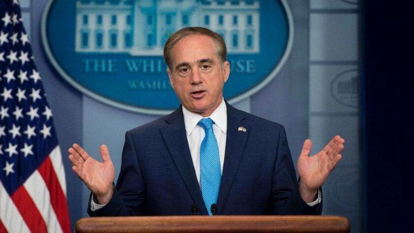 Secretary of Veterans Affairs David Shulkin speaks during a White House press briefing in Washington, DC, May 31, 2017.