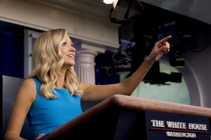 White House press secretary Kayleigh McEnany calls on a reporter during a briefing at the White House, Wednesday, June 3, 2020, in Washington. (AP Photo/Andrew Harnik)