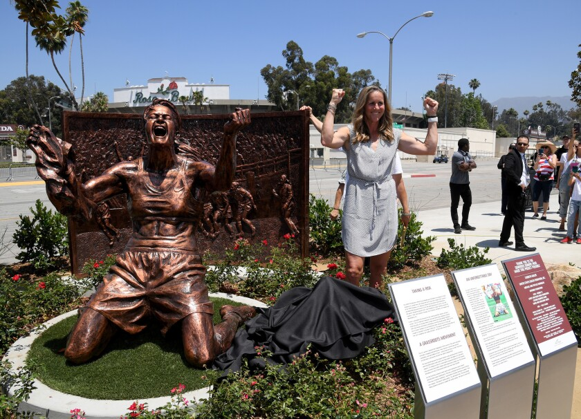 The Rose Bowl in Pasadena Unveils Brandi Chastain Statue