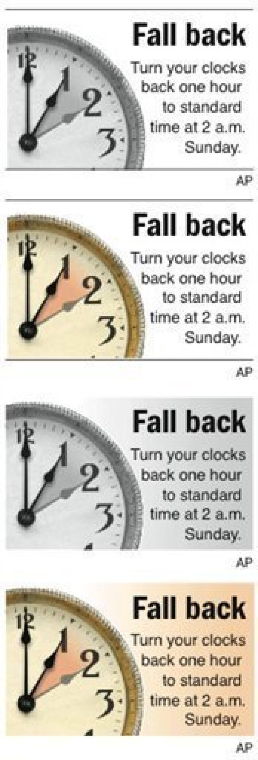 Graphic reminder to turn clocks back one hour from 2 a.m. to 1 a.m. on Sunday, Nov. 2; stand-alone; three sizes