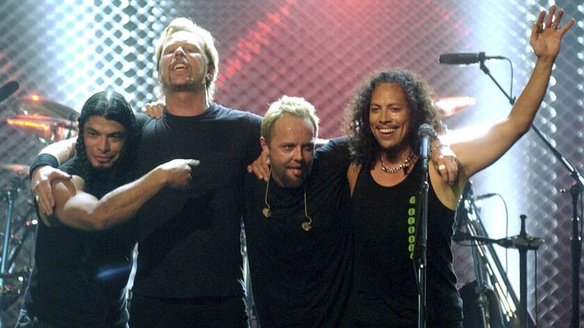 Metallica members, from left, Robert Trujillo, James Hetfield, Lars Ulrich and Kirk Hammett in 2003.