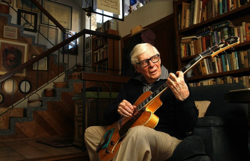 |Jazz guitar great Mundell Lowe will celebrate his 94th birthday performing at a show at Dizzy's in Pacific Beach in April. He and his wife, singer Betty Bennett, have lived in Tierrasanta for decades.