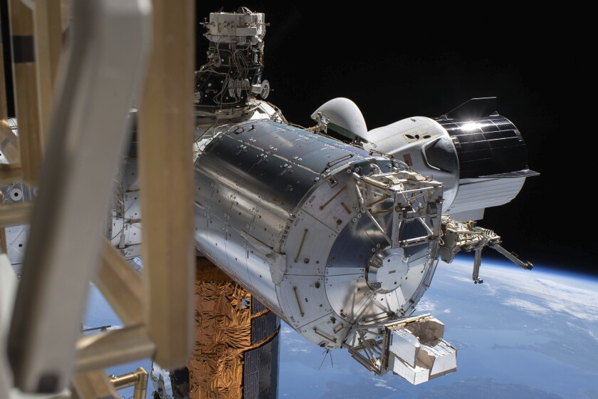 SpaceX's Crew Dragon capsule is docked to the International Space Station.