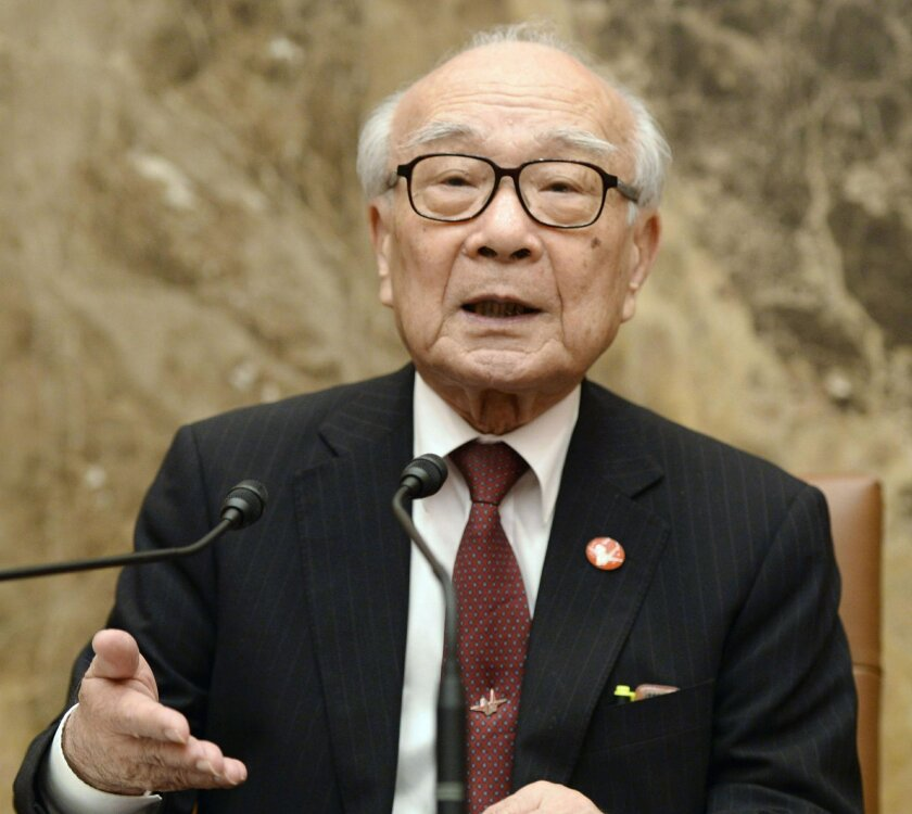 Terumi Tanaka, a survivor of the Nagasaki atomic bombing who serves secretary-general of Japan Confederation of A and H Bomb Sufferers Organizations, speaks during a press conference in Tokyo, Thursday, May 19, 2016. The group representing Japanese survivors of U.S. atomic bombings urged U.S. President Barack Obama to hear their stories and apologize when he visits Hiroshima. The leader of the Tokyo-based nationwide group told another news conference in Tokyo on Thursday that many survivors still want an apology though they have long avoided an outright demand for one out of fear that it would be counterproductive. (Kazushi Kurihara/Kyodo News via AP) JAPAN OUT, CREDIT MANDATORY