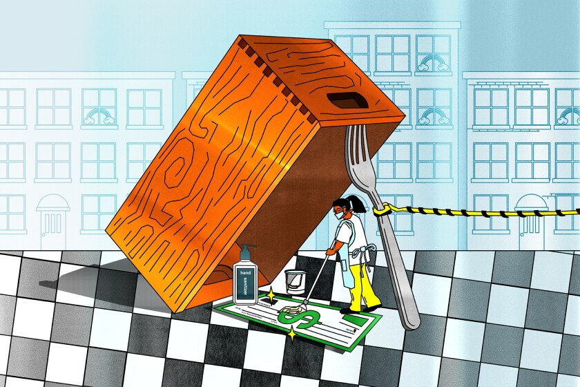 Illustration of a waiter stepping into a trap held up by a fork to sanitize a carpet made of cash